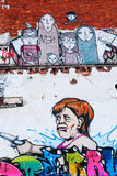 Malowidło ścienne Federacyjny kanclerz Angela Merkel przy fabryką w Niemcy, Hanover Zdjęcia Stock