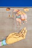 Malowidło ścienne grafika Os Gemeos w Heerlen holandie zdjęcie stock