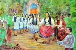 Malowidło ścienne mówi opowieść acadians ludzie Zdjęcie Stock