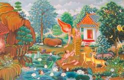 Malowidło ścienne mitologii buddyjska religia na ścianie w Wacie Neram zdjęcia stock