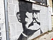 Malowidło ścienne na ścianie, Serbski bohatera Å ½ ivojin Misic zdjęcia royalty free