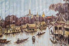 Malowidło ścienne na metalu ogrodzeniu zdjęcie stock