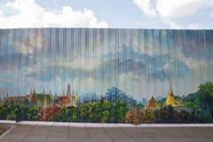 Malowidło ścienne na metalu ogrodzeniu zdjęcia stock