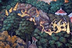 Malowidło ścienne obraz w Wacie Phra Kaew w Bangkok, Tajlandia obraz royalty free