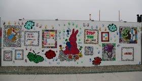 Malowidło ścienne sztuka przy nowymi ulicznymi sztuki przyciągania Coney sztuki ścianami Obrazy Royalty Free
