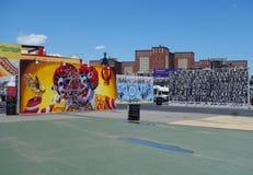 Malowidło ścienne sztuka przy nowymi ulicznymi sztuki przyciągania Coney sztuki ścianami przy Coney Island sekcją w Brooklyn Obrazy Stock