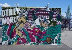 Malowidło ścienne sztuka przy nowymi ulicznymi sztuki przyciągania Coney sztuki ścianami przy Coney Island sekcją w Brooklyn Zdjęcie Stock