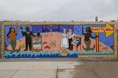 Malowidło ścienne sztuka przy ulicznymi sztuki przyciągania Coney sztuki ścianami przy Coney Island sekcją w Brooklyn Zdjęcia Stock
