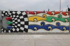 Malowidło ścienne sztuka przy ulicznymi sztuki przyciągania Coney sztuki ścianami przy Coney Island sekcją w Brooklyn Zdjęcia Royalty Free