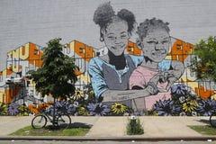 Malowidło ścienne sztuka przy Wschodnim Williamsburg w Brooklyn Zdjęcie Stock