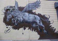 Malowidło ścienne sztuka przy Wschodnim Williamsburg w Brooklyn Zdjęcia Stock