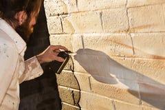 Malowidło ścienne sztuka z kiści farbą Fotografia Royalty Free