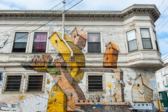 Malowidło ścienne w misi Gromadzkim sąsiedztwie w San Fransisco royalty ilustracja