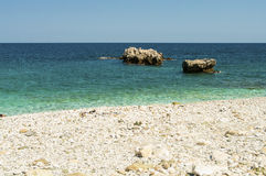 Malownicza Damouchari plaża przy Pelion w Grecja Zdjęcie Stock