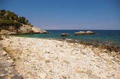 Malownicza Damouchari plaża przy Pelion w Grecja Zdjęcia Royalty Free