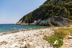Malownicza Damouchari plaża przy Pelion w Grecja Fotografia Royalty Free
