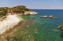 Malownicza Damouchari plaża przy Pelion w Grecja Zdjęcie Royalty Free