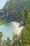 Malownicza linia brzegowa zachodni wybrzeże Jeziorny Baikal Odgórny widok Zdjęcie Royalty Free