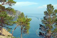 Malownicza linia brzegowa zachodni wybrzeże Jeziorny Baikal Odgórny widok Obraz Royalty Free