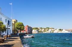Malownicza nadmorski Agia Marina wioska w Leros wyspie, Grecja Fotografia Stock