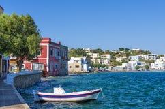 Malownicza nadmorski Agia Marina wioska w Leros wyspie, Grecja Fotografia Royalty Free