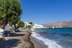 Malownicza nadmorski Agia Marina wioska w Leros wyspie, Grecja Obraz Stock