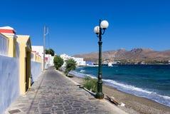 Malownicza nadmorski Agia Marina wioska w Leros wyspie, Grecja Zdjęcie Stock