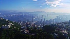 Malownicza powietrzna trutnia pejzażu miejskiego panorama miastowy architektury Hong Kong miasto zbiory