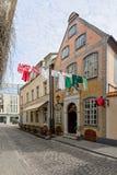 Malownicza ulica stary Ryski, Latvia Fotografia Royalty Free