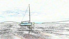 Malownicza wakacyjna żeglowanie łódź w porcie na chmurnego nieba i horyzontu tle w stylu obrazu ilustracja wektor