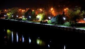Malowniczy bulwar Zaporoska rzeka w Dnipro mieście przy nocą, Ukraina Fotografia Stock