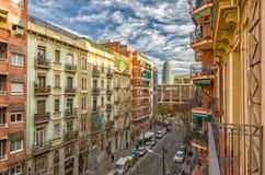 Malowniczy domy Barcelona z Agbar wierza Zdjęcie Royalty Free