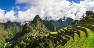 Malowniczy panoramiczny widok tarasy Mach Picchu Zdjęcie Stock
