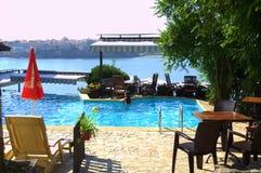 Malowniczy patio przegapia Sozopol zatoki Fotografia Royalty Free