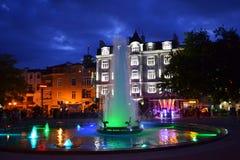 Malowniczy Plovdiv miasta nocy kwadrat obraz stock