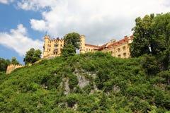 Malowniczy pogórza Alps jezioro otaczający z niskimi skałami przerastać z zwartym drewnem są widoczni stary ca obraz royalty free