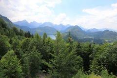 Malowniczy pogórza Alps jezioro otaczający z niskimi skałami przerastać z zwartym drewnem są widoczni stary ca obrazy royalty free