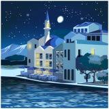 Malowniczy quay przy nocą Zdjęcia Stock
