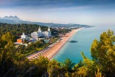 Malowniczy Śródziemnomorski seascape w Turcja Widok Tekiro Zdjęcia Royalty Free
