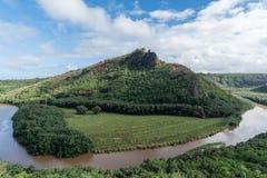 Malowniczy Wailua Rzeczny chył po tym jak ważna ulewa na Kauai, Hawaje zdjęcia stock