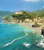 Malowniczy widok Monterosso al Kobyli vilage w lecie Cinque Terre Pięć ziemi park narodowy Włochy Obraz Royalty Free