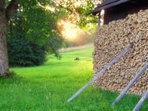 Malowniczy widok na drewnianej zajezdni w pogodnych promieniach Obrazy Royalty Free