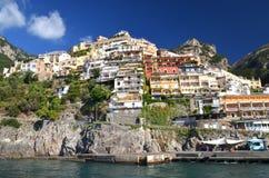 Malowniczy widok wioska Positano, Włochy Zdjęcia Royalty Free