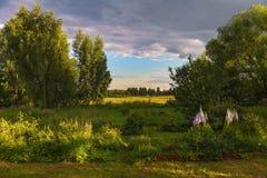 Malowniczy wiejski krajobraz w promieniach położenia słońce Zdjęcie Royalty Free