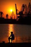 Malowniczy zmierzchu portu widok Obraz Royalty Free