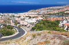 Malowniczy znakomity krajobraz piękni kurortu playa de lasy Americas na Tenerife, Spain zdjęcie royalty free