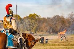 Maloyaroslavets, Rússia - 14 de outubro de 2018: Reconstrução histórica da batalha de Maloyaroslavets de 1812 imagens de stock royalty free