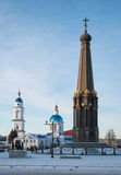 Maloyaroslavets in winter. The area of the Cathedral of the Kazan Icon of the Mother of God and a monument in honor of Patriotic War of 1812 Stock Photography