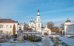 Maloyaroslavets in winter. Chernoostrovsky Nicholas Monastery in the old Russian city of Maloyaroslavets Royalty Free Stock Images