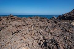 Malpais de Guimar, ландшафт неплодородных почв вулканический в Тенерифе, Cana стоковые фотографии rf